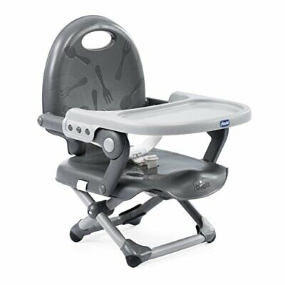 Chicco Pocket Snack Booster Seat Baby Feed High Chair Removable Tray - Dark Grey