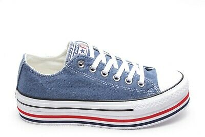 Scarpa Converse CTAS PLATFORM ALL STAR donna JEANS ginnastica casual sneakers