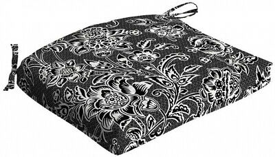 Outdoor Seat Pad Cushion Polyester Fabric UV Resistant Black And White Jacobean