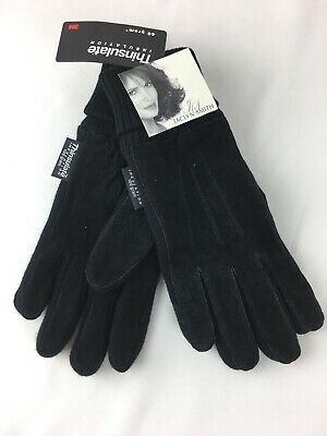 Womens Black Suede Gloves Jaclyn Smith Thinsulate Cold Weather S/M Small Medium