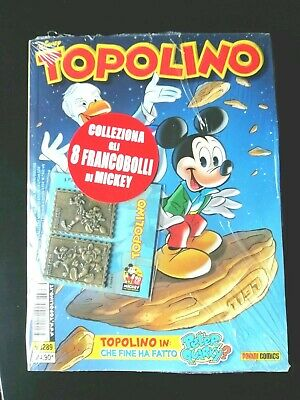 Topolino 3289  con 2 francobolli in metallo Celebrativi - blisterato