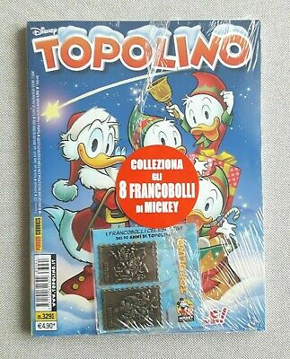 Topolino 3291 con 2 francobolli in metallo Celebrativi - blisterato