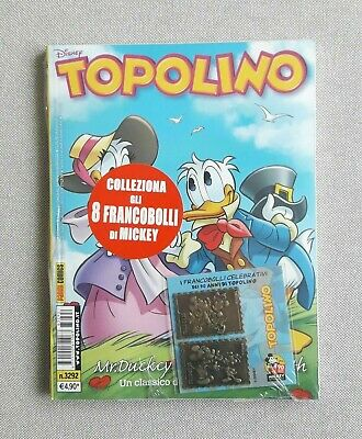 Topolino 3292 con 2 francobolli in metallo Celebrativi - blisterato