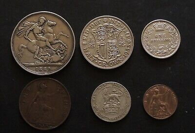 English 1889 Crown 1933 Half Crown 1877,1910 Shillings & Penny, Farthing Coins.