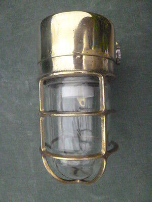 Brass 90 Degree Ships Bulkhead Wall Light, Reconditioned & Polished, Rare Find