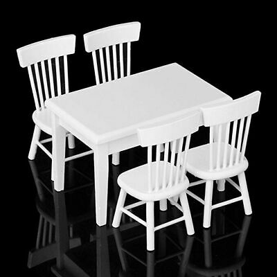 5pcs Miniature Dining Table Chair Wooden Furniture Set for 1:12 Dollhouse White