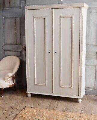 Vintage Antique French Painted Linen Press Cupboard Armoire Cabinet