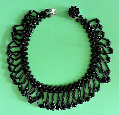 Stunning 1930s Art Deco vintage jet bead choker necklace West German