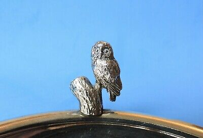 Silver plated owl on tree stump pin dish coin tray ashtray