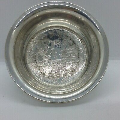 Silver Plated Willow Pattern Wine Bottle Coaster/Trinket Dish