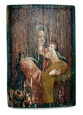 Old Orthodox Icon Mother of God Theotokos Rus. Empire Hand Painted Board 35x24cm
