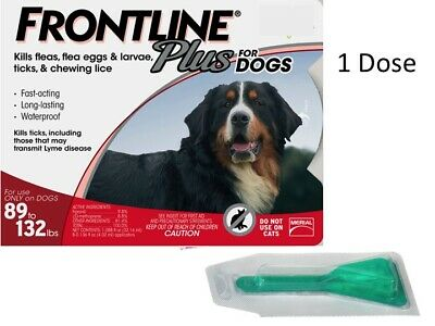 Frontline Plus Flea Tick 89 132 lbs XL Dogs Single Dose One Month Supply NO BOX