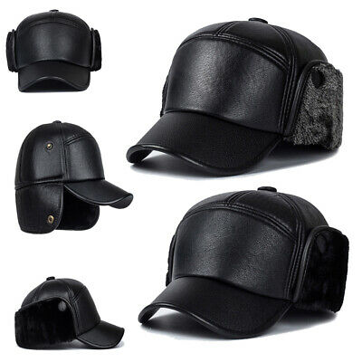 ccafe5d0ac3 Men Leather Trapper Hat Baseball Cap Outdoors Hunting Aviator Ear Flap  Winter