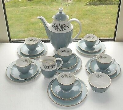 Royal Doulton Rose Elegans TC1010 21 Piece Coffee Set Coffee Pot Cups Saucers
