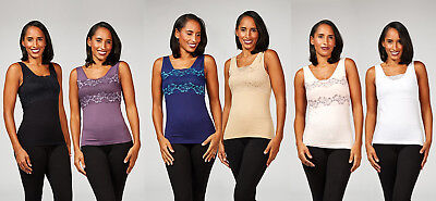 Rhonda Shear Seamless Camisole with Shelf Bra Lace Detail Pack of 2 RRP £47 NEW!