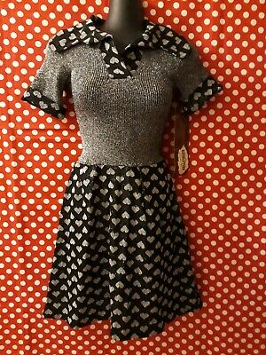 Genuine Vintage 60s 70s Black and Silver Lurex Dress with Heart Print Size 10