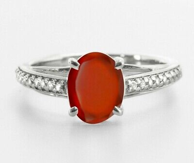 925 Sterling Silver Ring Orange Hessonite Garnet Natural Solitaire