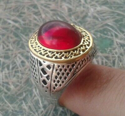 Rare Unique Stunning Ancient Silver Viking Ring with stone Very fine - Wearable