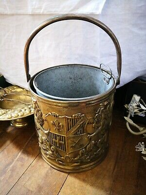 Vintage Brass Embossed & Engraved Coal Bucket With Original Insert 26Cms X 27Cm
