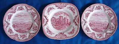 Johnson Brothers Earthenware Red Old Britain Castles ~ 3 Dessert Plates England