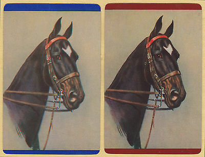 2 Single VINTAGE Swap/Playing Cards HORSES HORSE HEADS STAR MARKING Blue/Brown