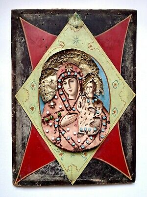 Rare 19th Orthodox Icon Burning Bush Mother of God Hand Painted Plywood 31x22cm