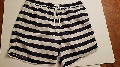 9faaac9b52 Mens Large J.CREW Navy White Striped BOARD SHORTS Swim suit trunks shorts
