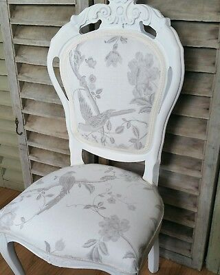 Laura Ashley Louis french chair + cushion cover in Summer Palace ' Dove grey '