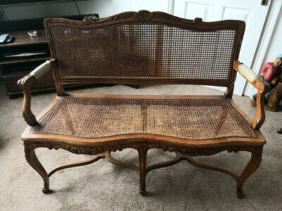 Antique Bergere Bench Seat - Reproduction