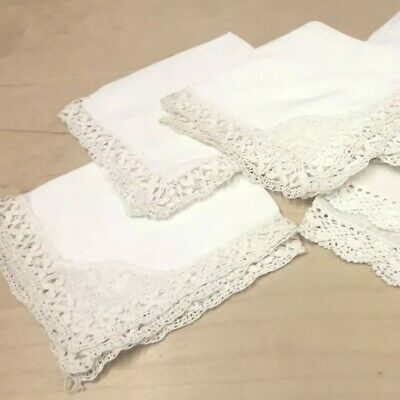 Vintage Silk and Lawn Handkerchiefs with Handmade Lace