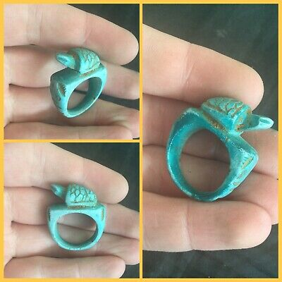 Rare ancient Egyptian blue faience turtle amulet ring, 300 bc