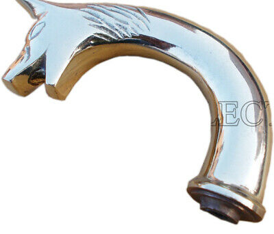 Nickel Brass Fox Head Handle for Wooden Walking Stick Cane-Only Handle