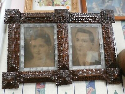 Antique Original Early 1900's Tramp Art Double Photo Frame Folk Art w/Photos