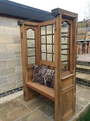 Antique Victorian Carved Oak Settle / Monks Bench / Hall Chair Seat / Pew
