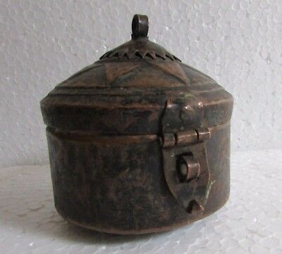 1930's Vintage Old Copper Handcrafted Unique Shape Jewellery Box Rare