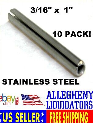 """(10 Pcs) 18-8 SS Slotted Roll Spring Pin 3/16"""" Dia x 1"""" STAINLESS STEEL NH"""