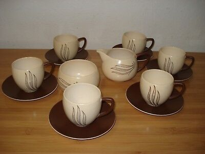 Carlton Ware Wind Swept Design set 6 cups & saucers, sugar and creamer C2