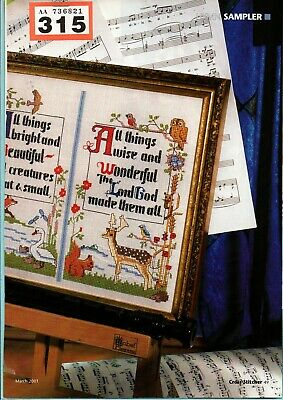 Cross Stitch Chart Hymn Sampler All Things Beautiful & Childrens Rhyme (315)