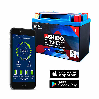 Shido LTX20-Q Lithium Connect Battery (YTX20 Smartphone Android IPHONE Ios