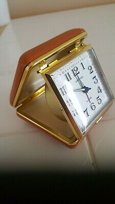 Vintage Retro Estyma Folding Travel Alarm Clock in Brown Clam Shell Case wind up