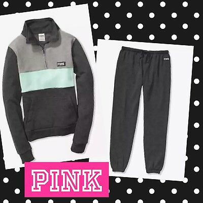 54fc4f37c1959 VICTORIA SECRET PINK Perfect Quarter Zip Pullover Gray/Pink and pant ...