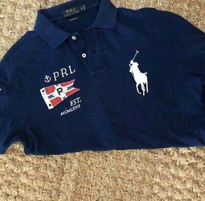 VINTAGE Ralph Lauren Polo Shirt Mens L Large Blue  Big Pony Rugby 90s Red Flag