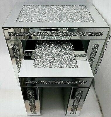 Nest Of 2 Tables Diamond Crush Crystal Sparkly Silver Mirrored Bevelled CHIPPED