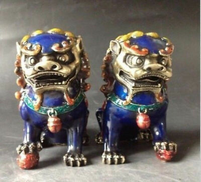 A Pair Chinese Cloisonne Copper Statue - Lion Foo Dog