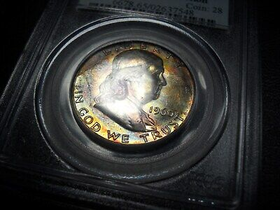 1960 PCGS MS65 Franklin Half Dollar Beautiful Rainbow End of Roll Toning