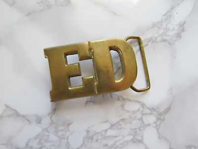 """Vintage Brass """"ED"""" Name Initial Belt Buckle Solid Brass Taiwan 1970's Era"""