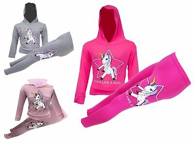 Girls Floss Like Boss Hooded Cropped Jog Suit Top Bottom Set Kids 2PC 5-12 Years