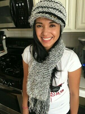5ce4ccd6451 Billed Beanie Hat Women s Fuzzy cute youth style gray black pink white gift  new