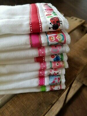 New Personalized set of 2 Burp Cloths Baby Gift Embroidered Girls
