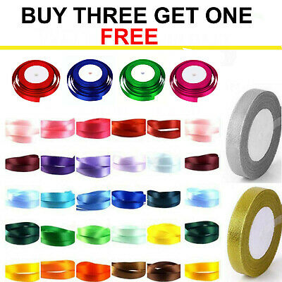 23 Metres Of Satin Ribbon 6Mm, 10Mm, 15Mm, 20Mm Width's  Or 10 X 2 Mtr Bundle